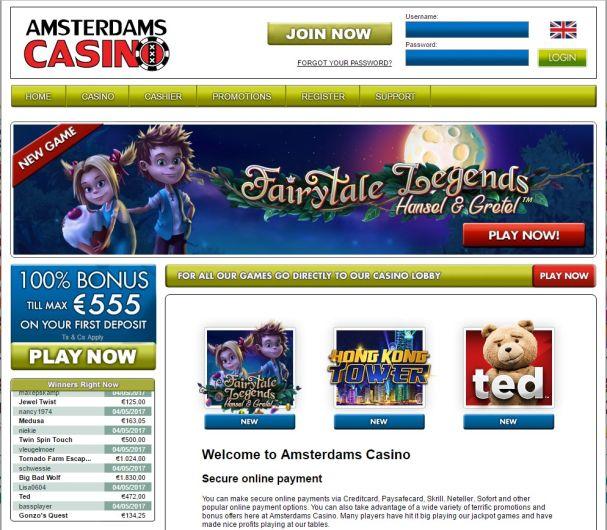 Amsterdams Casino -nettikasinon etusivu